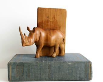 Vintage Wood Rhino Bookend Double Horn African Rhinocerous