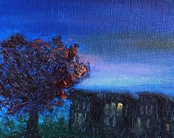 Early Autumn Twilight, 4x4 Mini Painting