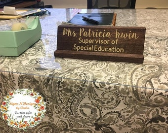 Desk name plate, Wooden desk name plate, customized name plate, teacher's desk name plate, gift for school counselor, school office decor