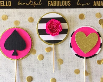 Kate Spade Inspired Cupcake Topper set of 12, Bridal Shower-Gold- Glitter, Spade, Wedding Shower, Party Decor, Bachelorette Party, Sweet 16