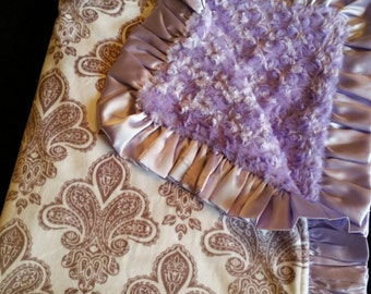 Fleur de Lis Minky Blanket with Lavender Rosebud Minky and Satin