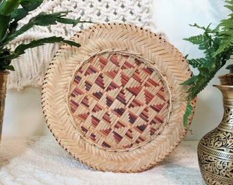 Vintage Woven Full Lidded Basket / Woven Basket With Lid / Boho Basket
