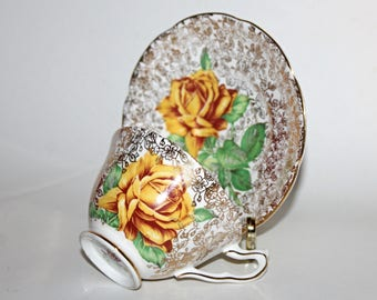 Collingwoods Golden Rose Chintz Teacup & Saucer Gold Chintz Yellow Rose