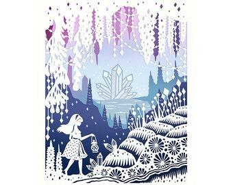 Crystal Cave - 5x7 Print - Hand-Embellished Fine Art Print - Original Papercut Illustration
