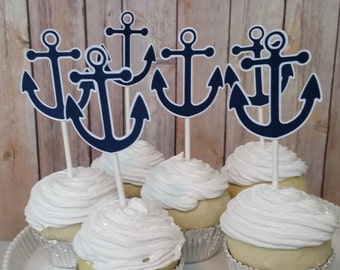 Nautical Anchor Cupcake Toppers, Navy Blue Nautical Cupcake Toppers, Nautical Birthday Cupcake Toppers, Nautical Birthday Decor