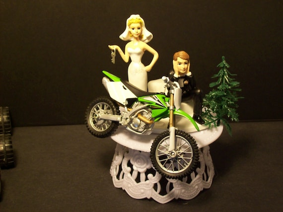 Motorcycle Kawasaki KF 250 F Green Dirt Bike Bride and Groom