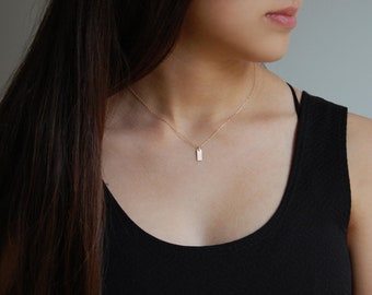 14K Gold Layer Necklace Gold Bar Necklace 14K Yellow Gold Necklace Solid Gold Bar Necklace
