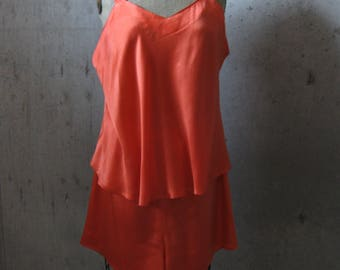 Orange Silk Lingerie Set Camisole Tap Pants Plus Size Sleep Lounge Wear Vintage 2X