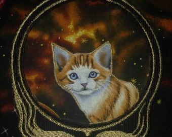 Grateful Dead stealie patch - space cat patch - syf-  steal your kitties collection - jacket applique -  deadhead patch - music festival