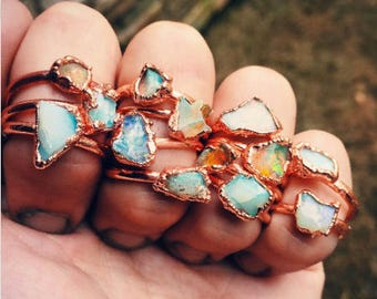 Raw opal ring, Fire Opal ring, Opal Fire ring, Rough opal ring, Rainbow opal ring,  Copper opal ring, rings, raw stone ring, stackable rings