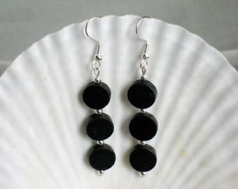 Blackstone Disc and Silver Hanging Earrings