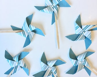 Teal and White Pinwheel Cupcake Toppers, Vintage Wedding Cupcake Topper, Baby Shower Cupcake Topper, 1st Birthday Cupcake Topper