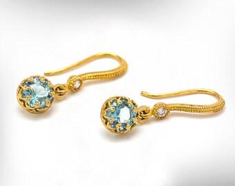 Charm Gold Drops, 9k Gold Dangle Earrings, Blue Topaz Earrings, December Birthstone Earrings, Fine Jewelry For Women, Classic Gold Earrings