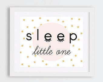 Sleep Little One Nursery Art Print, Modern Nursery Art Printable, Pink and Gold Nursery Decor, Little Girls Room Art, Stars Baby Room Art