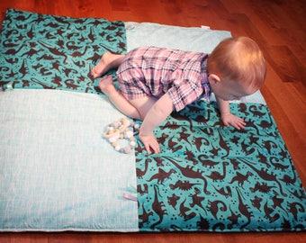 Baby Playmat - Minky - Dinosaurs - Geometric Pattern - Aqua, Turquoise, Black - Shower - Nursery
