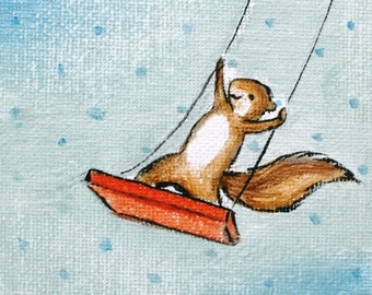 I Can Fly - PRINT, room decor, baby and kids art, squirrel on a swing, polka dots