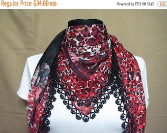 ON SALE Turkish oya scarf , black leopard scarf, black scarf with red leopard print, red square scarf, scarf with black crochet trim,Turkish