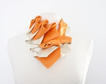 Aster Necktie Scarf in Color Block - Tangerine + Champagne