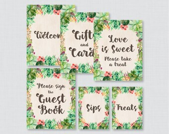 Succulent Bridal Shower Table Signs - Printable Rustic Green Succulent Bridal Shower Decorations - Welcome Sign, Favors Sign, etc 0025