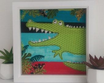 Crocodile Jungle framed textile art by Lillyblossom. Handmade embroidery applique nursery baby shower boys room new baby jungle