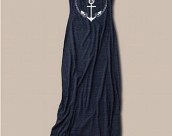 Womens Nautical Anchor Bohemian Alternative Apparel Tank Top Dress screenprint maxi beach coverup S M L XL More colors