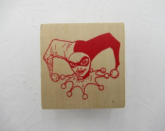 Harley Quinn Rubber Stamp - Wood Mounted  - Harley Quinn Head - Harley Quinn Costume - by D.C. Comics - Qty 1