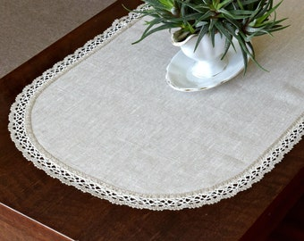 Pure linen tablecloth with lace edge  Coffee table runner Oval dresser scarf Rustic table topper