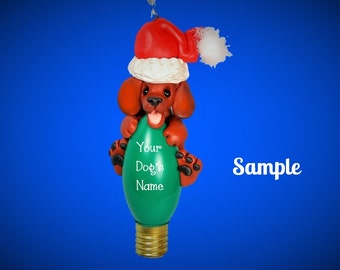 Red Smooth Coat Dachshund Santa Dog Christmas Light Bulb Ornament Sally's Bits of Clay PERSONALIZED FREE with dog's name