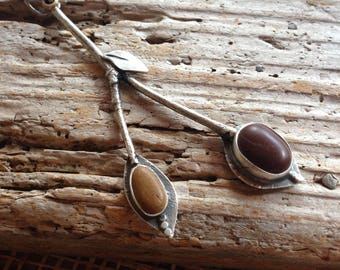 Beach Stone and Silver Twigs necklace on long sterling silver chain