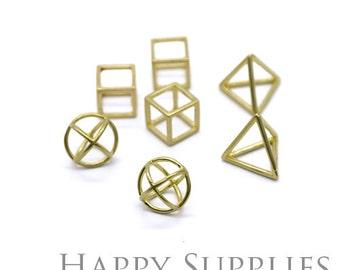 3D Geometric Circle Triangle Square Cube Raw Brass Pendant (3D04-6)