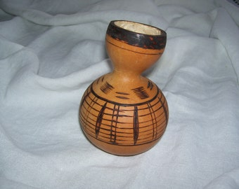 Native American Gourd Vase Burned Vintage