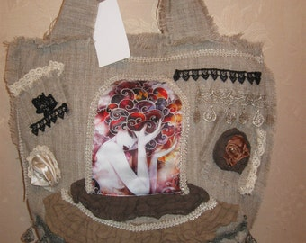 Stylish bag from natural flax boho style. flax, print, lace.