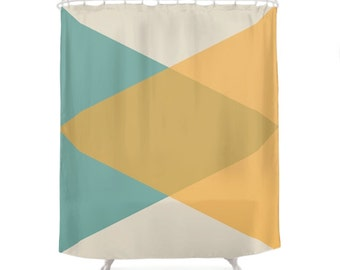 Mid Century Shower Curtain, Retro Decor, Vintage Curtains, Minimal Geometry, Simple Colors, Triangles Design, Blue, Yellow, Bathroom Gift