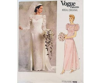 """UNCUT Vogue Bridal Original 1829 Lace Overlay Bodice Wedding Dress Bridal Gown with Bridesmaid Option Sewing Pattern Size UK 12 Bust 34"""""""