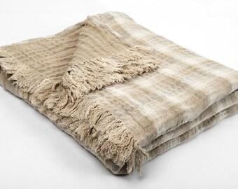 Linen blanket, light linen bedspread, brown throw blanket, custom blankets, queen size blanket brown, sofa throw, bed throw, bed blanket