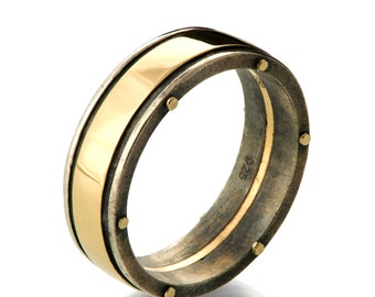 Gold Wedding Band, Men's 18K Gold and Oxidized Silver Wedding band, steampunk, Wedding ring, black and gold ring, BNG 1W