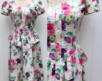 Vintage Floral Peplum Dress. Spring Dress. Leslie Fay. Easter Floral Dress. Garden Party Peplum Dress.