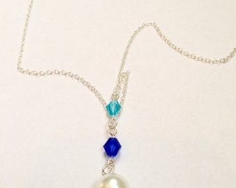 Blue Swarovski Crystal & Glass Pearl Silver Drop Necklace
