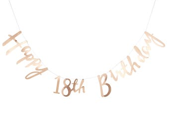 Gold 18th Happy Birthday Banner Bunting - Party, Celebration, Decorations