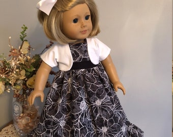 18 inch Doll Clothes - Long Ruffled Black and White Dress Set