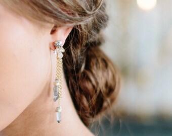 HAZEL smoky quartz blush boho bridal statement earrings, bohemian wedding jewelry