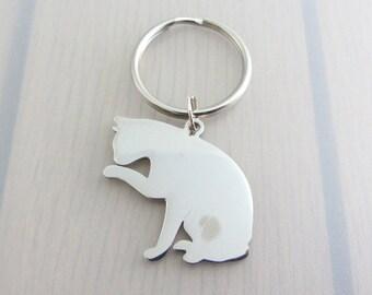 Cat Charm Keychain, Animal Charm Keyring, Stainless Steel Keyring, Cat Gift, Animal Lovers Gift, Pet Lovers Gift