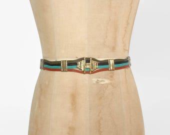 Vintage 70s Boho BELT / 1970s Striped Leather & Brass Bohemian Belt