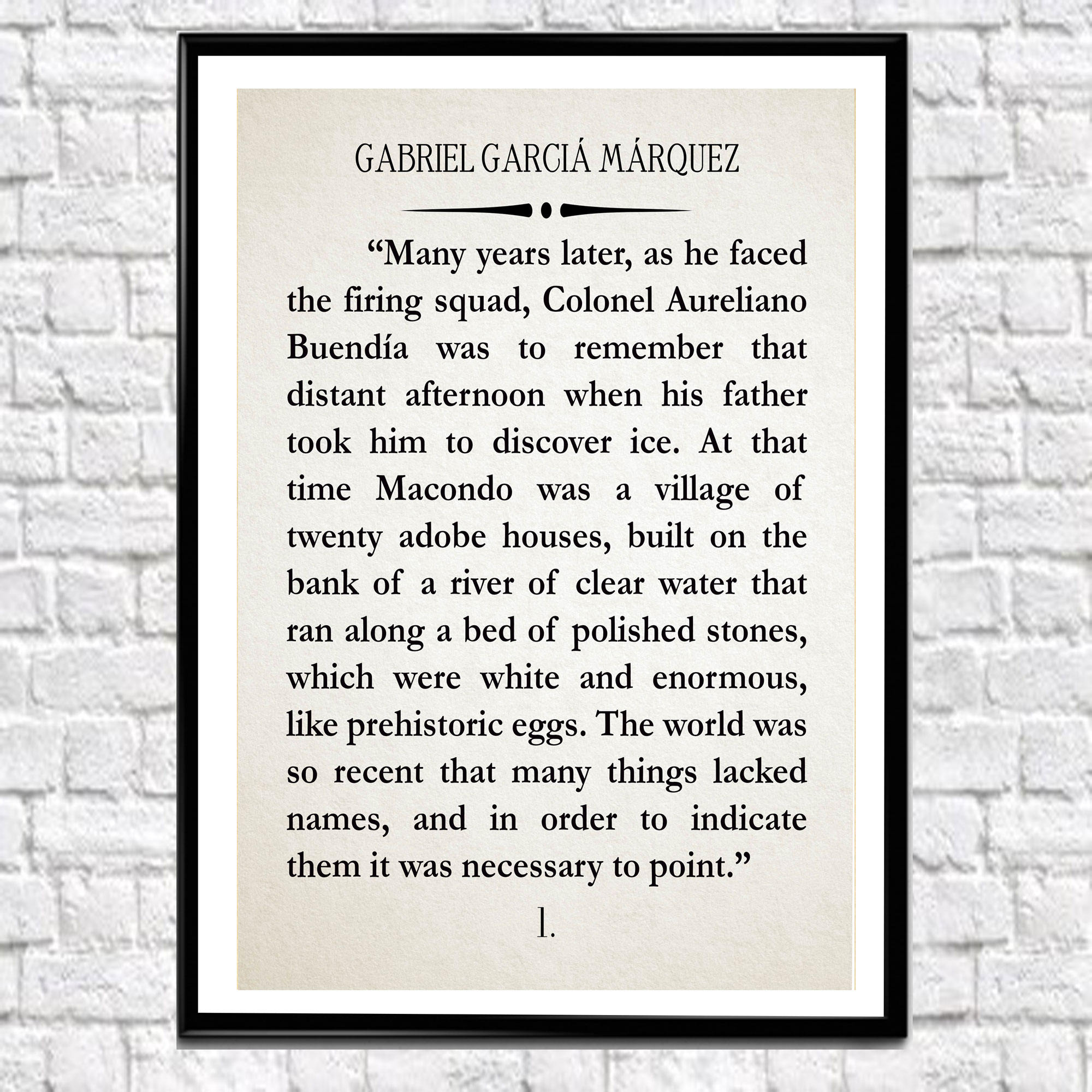 Vet Tech Quotes Gabriel García Márquez Book Wall Art One Hundred Years Of