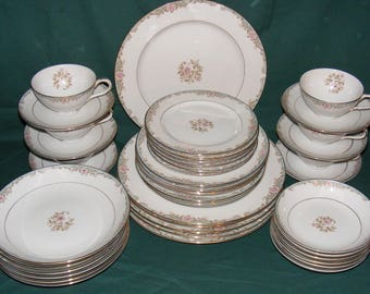 Vintage 42 Pc Kyoto Dinner Set ALYCE Plates Bowls C\u0026S - Place Setting for & Flower dinnerware | Etsy