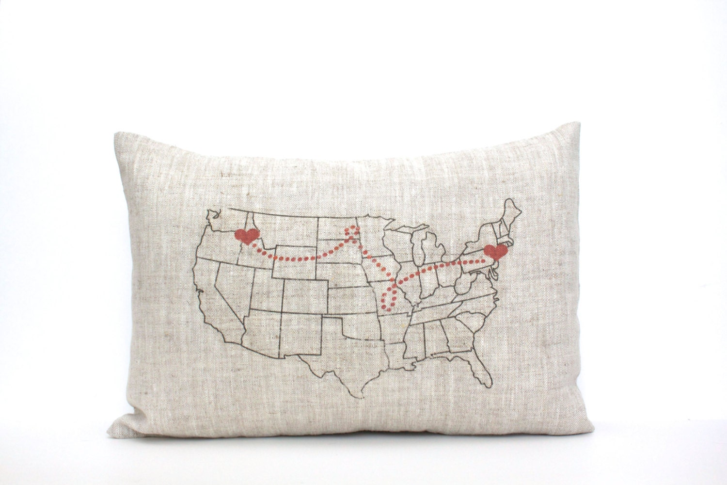 map pillow housewarming gift gift for her personalized