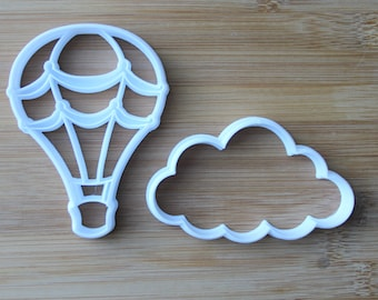 Hot Air Balloon & Cloud Set 3D Printed Cookie Cutter | Hot Air Balloon Birthday / Hot Air Balloon Baby Shower / Festival Cookie Cutters