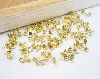 4mm Gold Rhinestone Chain End Connectors, Chain Cup Connector, Bead Findings for Clasp End