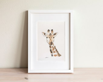 Giraffe watercolor illustration - handmade