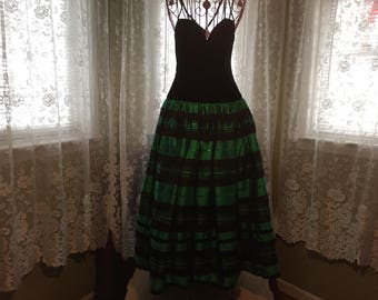 1980's  Blk Velvet & Green Taffeta Evening  Serenade dress